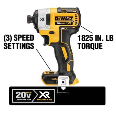 20-Volt MAX XR Cordless Brushless 3-Speed 1/4 in. Impact Driver with (2) 20-Volt 4.0Ah Batteries & Charger