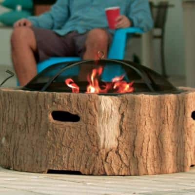 35 in. x 20.5 in. Round Cast Stone Base Wood Burning Fire Pit Faux Bois