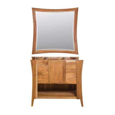 Curvature 36 in. W Bath Vanity Cabinet Only with 36 in. W x 35 in. H Mirror in Natural Teak