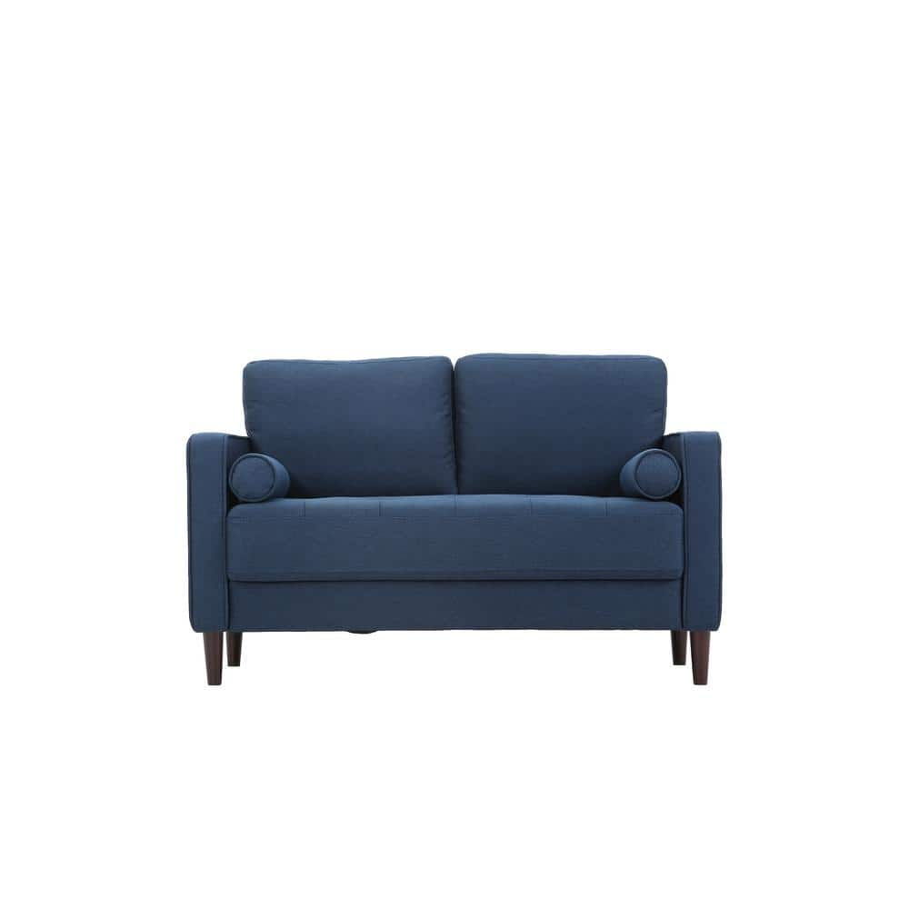 Lifestyle Solutions Lillith 31 1 In Navy Blue Polyester 2 Seater Loveseat With Square Arms Lk Lgfsp2gu3051 The Home Depot