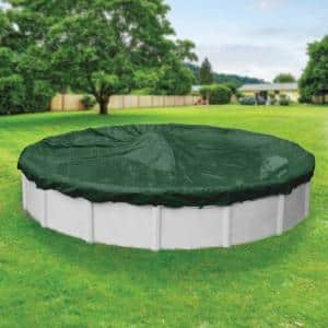 Heavy-Duty 28 ft. Round Grass Green Winter Pool Cover