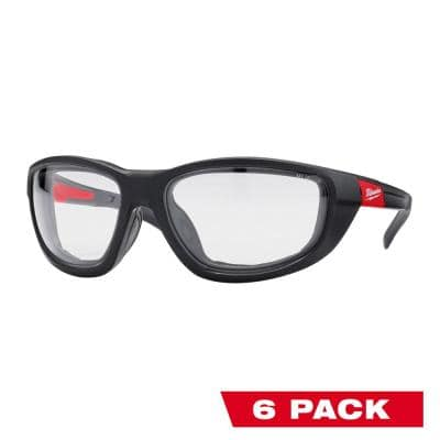 Performance Safety Glasses with Clear Fog-Free Lenses and Gasket (6-Pack)