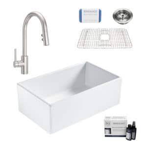 Bradstreet II All-in-One Stainless Fireclay 30 in. Single Bowl Farmhouse Kitchen Sink with Pfister Stellen Faucet