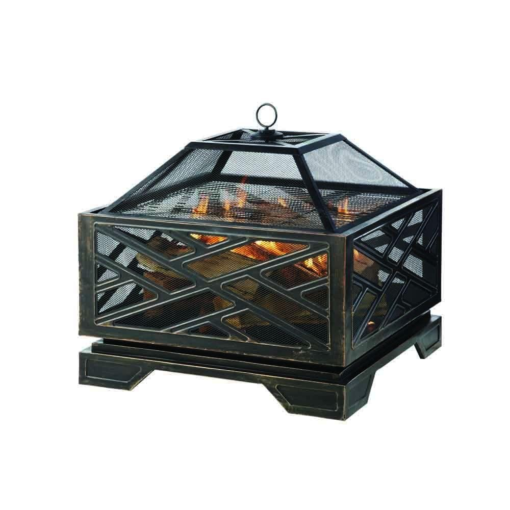 Pleasant Hearth Martin 26 In X 26 In Square Deep Bowl Steel Wood Fire Pit In Rubbed Bronze Ofw165s The Home Depot