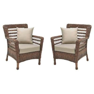 Modern Concept 2-Piece Faux Sea Grass Resin Rattan Wicker Outdoor Patio Lounge Chairs Set with Beige Cushions