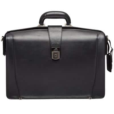 Beverly Hills Collection Black Leather Luxurious Litigator Briefcase with RFID Secure Pocket for 17.3 in. Laptop