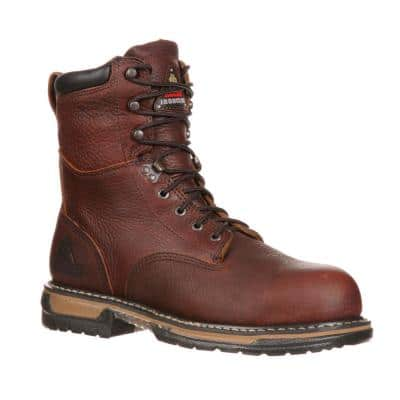 Men's IronClad Waterproof 8 inch Lace Up Work Boots - Steel Toe - Brown 8 (M)