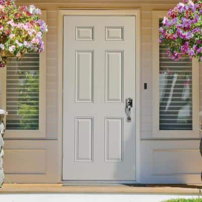 32 in. x 80 in. Utility 6-Panel Right-Hand Outswing Primed Steel Prehung Front Exterior Door