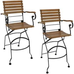 Brown Folding Wood Outdoor Dining Chair (Set of 2)