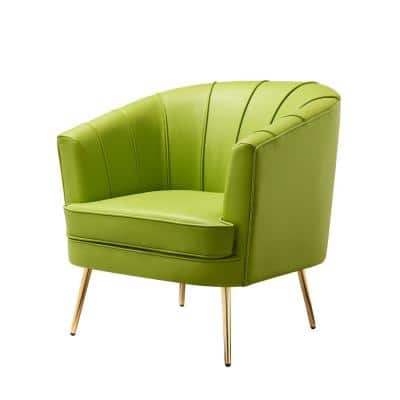 Endel Green Leather Accent Chair