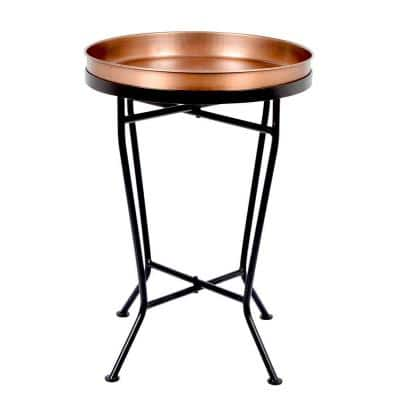 13 in. Dia Black Metal Antique Copper Round Planter Tray with Stand