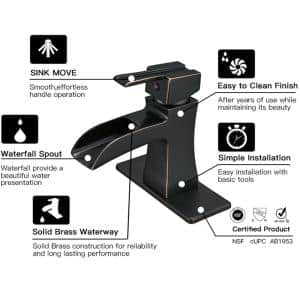Waterfall Single Hole Single-Handle Low-Arc Bathroom Faucet with drain assembly in Oil Rubbed Bronze