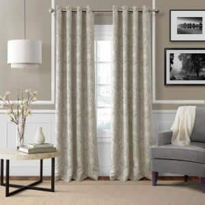 Natural Paisley Blackout Curtain - 52 in. W x 84 in. L