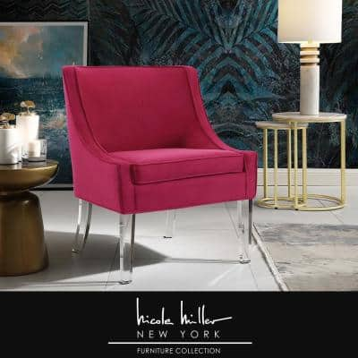 Terrance Hot Pink Velvet Accent Chair with Upholstered Armless