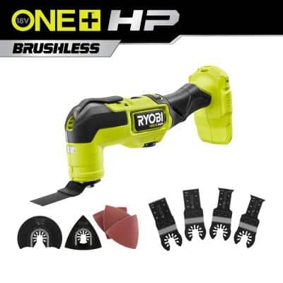 ONE+ HP 18V Brushless Cordless Multi-Tool (Tool Only) with 4-Piece Wood and Metal Oscillating Multi-Tool Blade Set