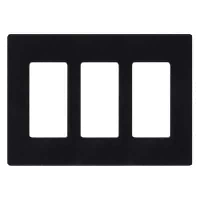 Claro 3 Gang Decorator/Rocker Wallplate, Gloss, Black (1-Pack)