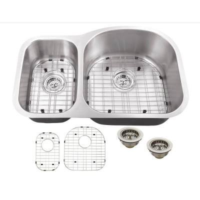 Undermount 16-Gauge Stainless Steel 32 in. 0-Hole 30/70 Double Bowl Kitchen Sink with Grid Set and Drain Assemblies