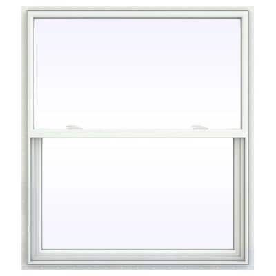 41.5 in. x 47.5 in. V-2500 Series White Vinyl Single Hung Window with Fiberglass Mesh Screen