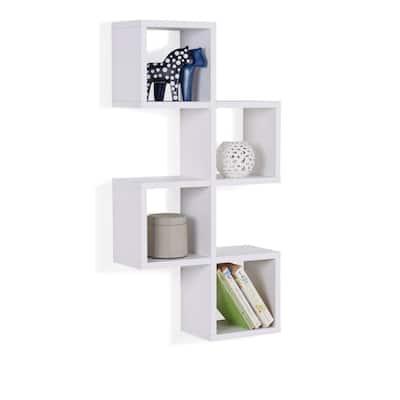 White MDF Cubby Chessboard Floating Wall Shelf
