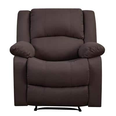 Preston 36 in. Width Big and Tall Chocolate Microfiber 1 Position Recliner