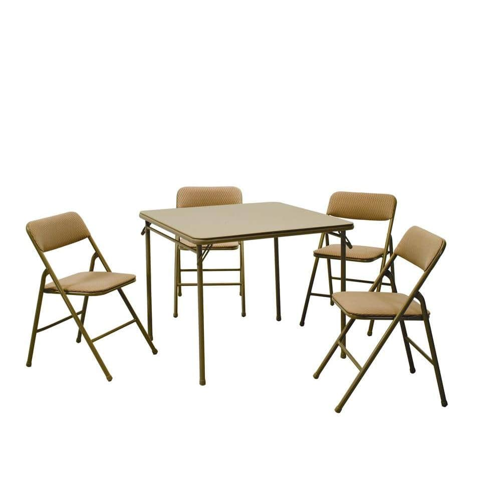 Cosco 5 Piece Beige Mist Portable Folding Card Table Set 14551whd The Home Depot