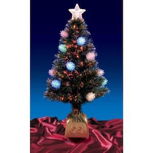 4 ft. Pre-Lit LED Multi Lights Fiber Optic Pine Cone Artificial Christmas Tree