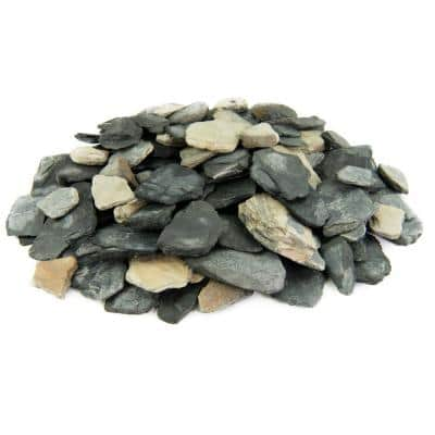 25 cu. ft. 1 in. to 3 in. Bulk Slate Chips Black and Tan Rock for Landscape, Gardens, Ground Cover, and Walkways