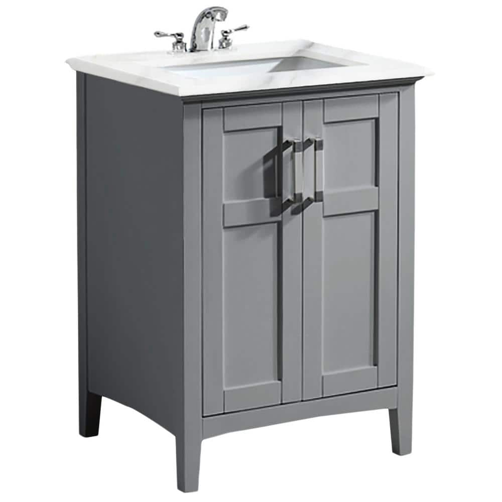 Simpli Home Winston 24 In Bath Vanity In Warm Grey With Marble Extra Thick Vanity Top In Bombay White With White Basin Winstonwg 24 The Home Depot
