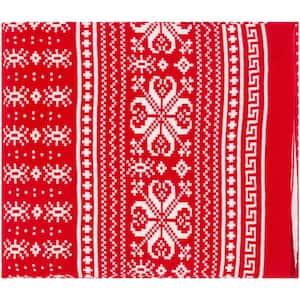 Dewydd Bright Red Throw Blanket