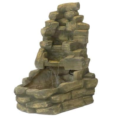 37 in. Outdoor Stone Water Falls Fountain