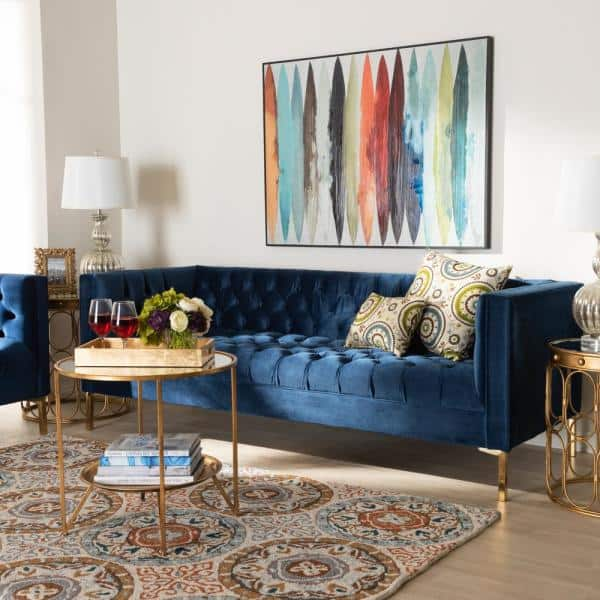 Baxton Studio Zanetta 82 7 In Royal Blue Gold Fabric 3 Seater Tuxedo Sofa With Square Arms 153 9259 Hd The Home Depot
