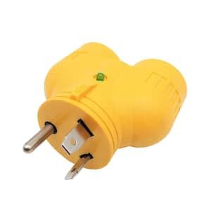 RV 30 Amp 3-Prong TT-30 Plug to 2x 20 Amp 5-20R/15R T-Blade Outlet Splitter V-Adapter NEMA TT-30P to (2) 5-20R/5-15R