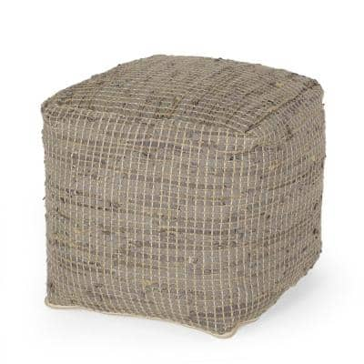Galion Taupe Fabric Cube Pouf