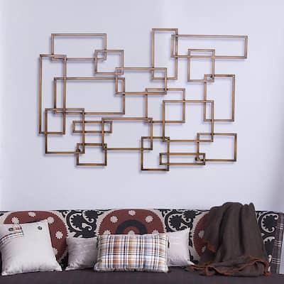 Burnished Copper Geometric Metal Work Wall Decor