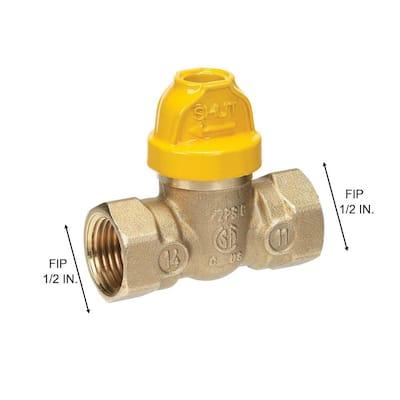 1/2 in. Brass FIP x FIP Safety Gas Ball Valve