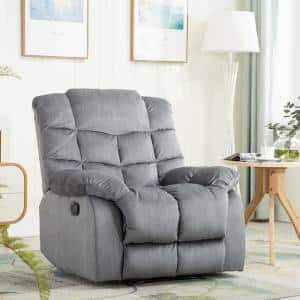 38 in. Width Big and Tall Blue/Gray Velvet 3 Position Manual Recliner