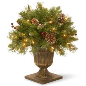 1.5 ft. Frosted Berry Porch Artificial Bush with Clear Lights