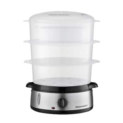 Gourmet 9 qt. 3-Tier Black Plastic Food Steamer
