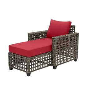 Briar Ridge Brown Wicker Outdoor Patio Chaise Lounge with CushionGuard Chili Red Cushions