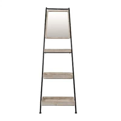 Metal & Wood Three-Tier Shelf Ladder Storage