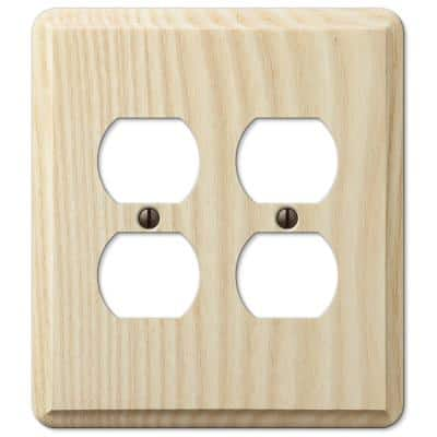 Contemporary 2 Gang Duplex Wood Wall Plate - Unfinished Ash