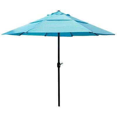 10 ft. Powder-Coated Steel Crank Market Outdoor Patio Umbrella in Light Blue