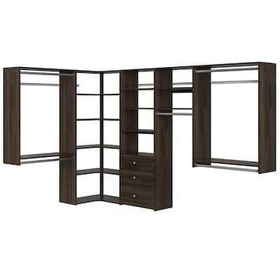 Ultimate 84 in. W - 115 in. W Espresso Wood Closet Corner System