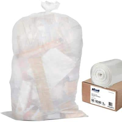 38 in. W x 58 in. H 55 Gal. - 60 Gal. 3.0 mil Clear Gusset Seal Contractor Bags (50-Case)