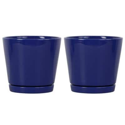 6 in. Blue Knack Ceramic Planter, Set of 2