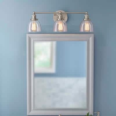 Evelyn 3-Light Brushed Nickel Vanity Light