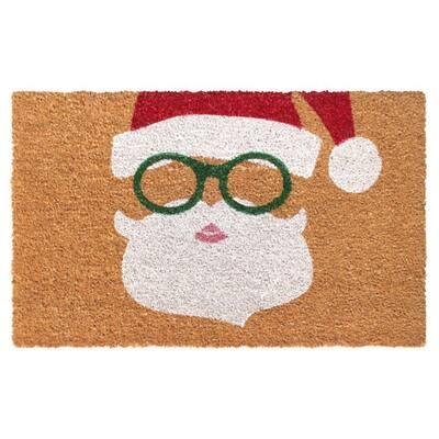 White 18 in. x30 in. Machine Tufted Santa Doormat