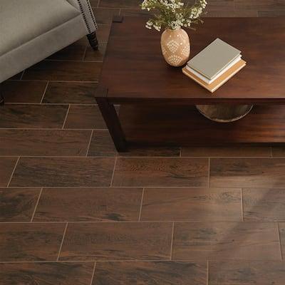 Glenwood Cherry 7 in. x 20 in. Ceramic Floor and Wall Tile