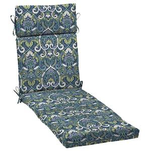 21 x 72 Sapphire Aurora Damask Outdoor Chaise Lounge Cushion