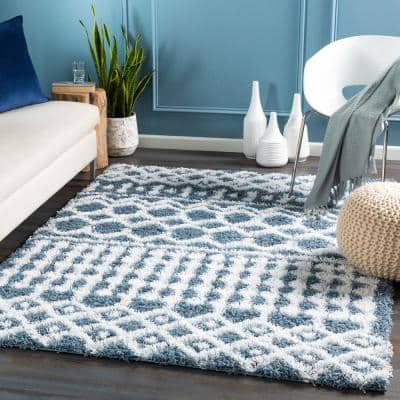 7 X 10 Plush Blue Area Rugs Rugs The Home Depot